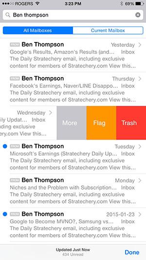 iOS Mail App Swipe